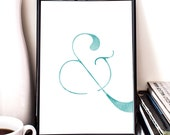 Ampersand, printable art, teal, typography, bedroom art, nursery decor