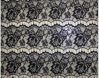 Black Eyelash Lace Fabric for dress,IVORY White Eyelash wedding Lace Fabric by the Yard or Wholesale