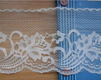 4.3INCH WiDE SeWiNG CRaFTS WeDDiNG,wedding invitation lace trim ,black Lace Trim Vintage - IVORY