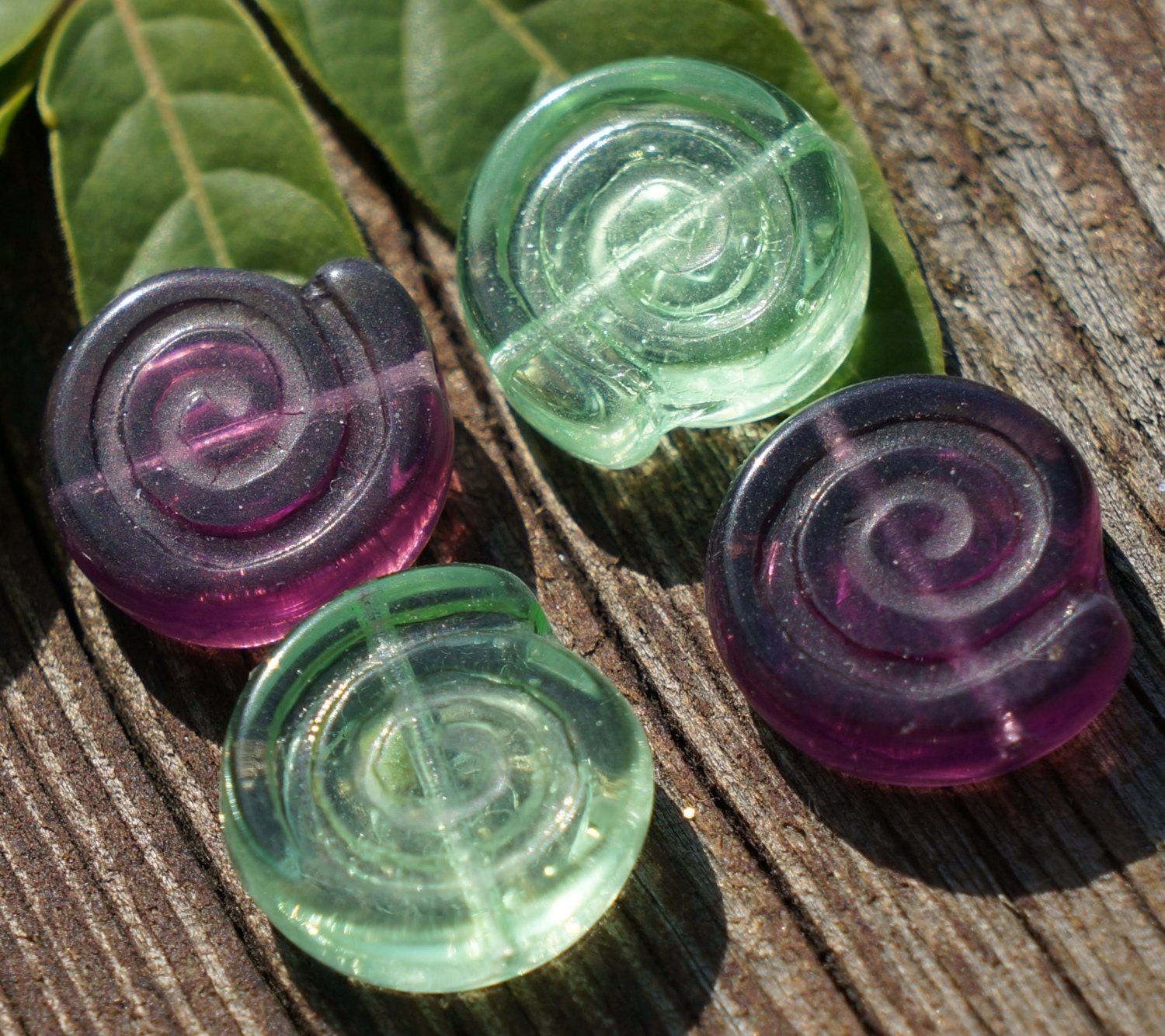 mix clear green purple nautilus czech glass by czechbeadsexclusive. Black Bedroom Furniture Sets. Home Design Ideas