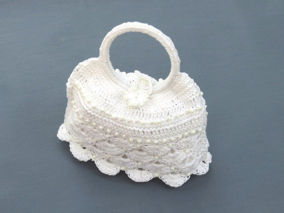 Crochet bridal bag purse snow white spring by byTheCrochetBug