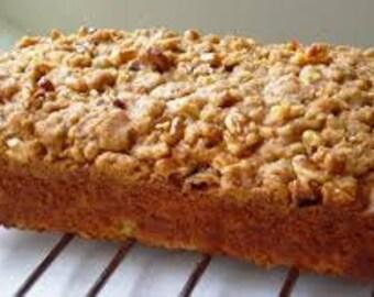 SALE/Gourmet Apple Crumb Bread/ 1  lb. loaf/Sugar Free/Gluten Free/ Options