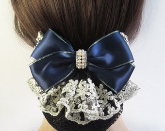 French Lace Fabric Oversized Bow with Net Snood, hair bun cover, big hair bow barrette