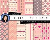 "Aztec Digital Paper:""AZTEC PATTERN"" Paper Pack with Aztec Papers- Aztec Wallpaper - Tribal Patterns - Aztec Print in Pink & Grey Shades"