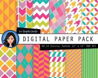 Geometric Pattern Digital Paper: Geometric Digital Scrapbook Paper, Digital Papers in Neon Color, Digital Paper Pack for INSTANT DOWNLOAD