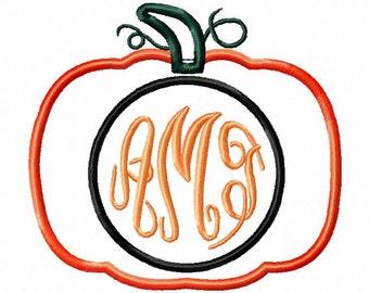 Monogram pumpkin applique design download - 2 designs in 2 hoop sizes 5x7 and 6x10