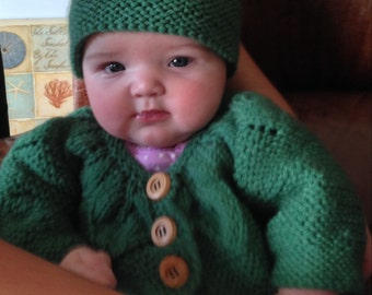 Baby Girl Sweater Set with Leaf Motif