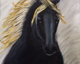18x24 Abstract Painting of Black Horse