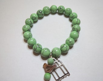 Bird and Cage Howlite Stretch Bracelet