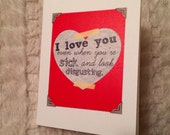 Sick and Disgusting Love (Love Actually-inspired), 4.25x5.5 quarter-fold greeting card, printable, digital
