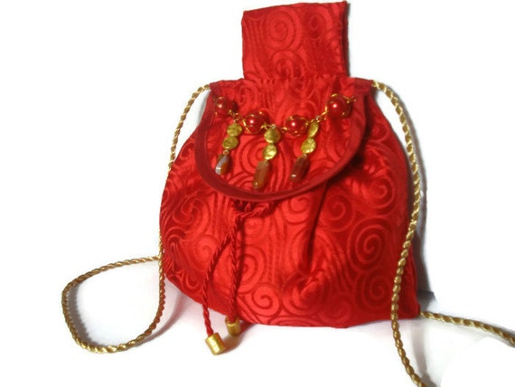 Halloween Purse Brocade Bag Alchemy Small Drawstring Pouch Purse Messenger Belt Bag Red Scroll Fabric Ritual Bag Red Silk Beaded Purse Agate