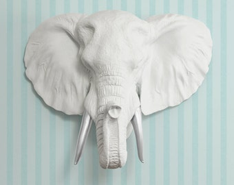 The Savannah In White Silver Tusk Faux Elephant Head