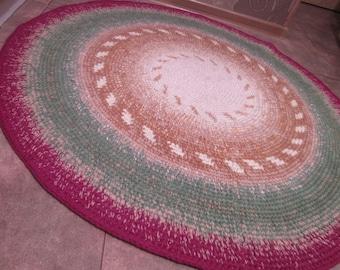 "Round Crochet Rug Red Green Brown Beige Rug Bedroom Rug Kitchen Rug Livingroom Rug  43"""