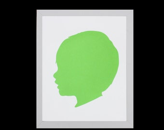 Custom Silhouette Portrait, Personalized Children's Silhouette Art, Profile,Custom Gift,Custom Keepsake, Nursery Art- 5x7 or 8x10 - GREEN