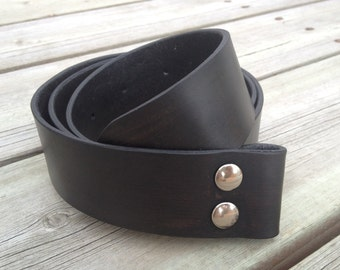 Midnight Black Leather Belt - Snap Leather Belt - Belt for Removable Buckles in Black Leather