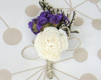 8 Boutonnieres,  groom boutonniere, Sola Flower,  Wedding Flowers