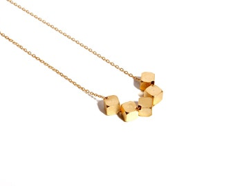 Geometric square  necklace,geometric jewelry, geometric necklace, minimalist necklace, tiny necklace, gold necklace