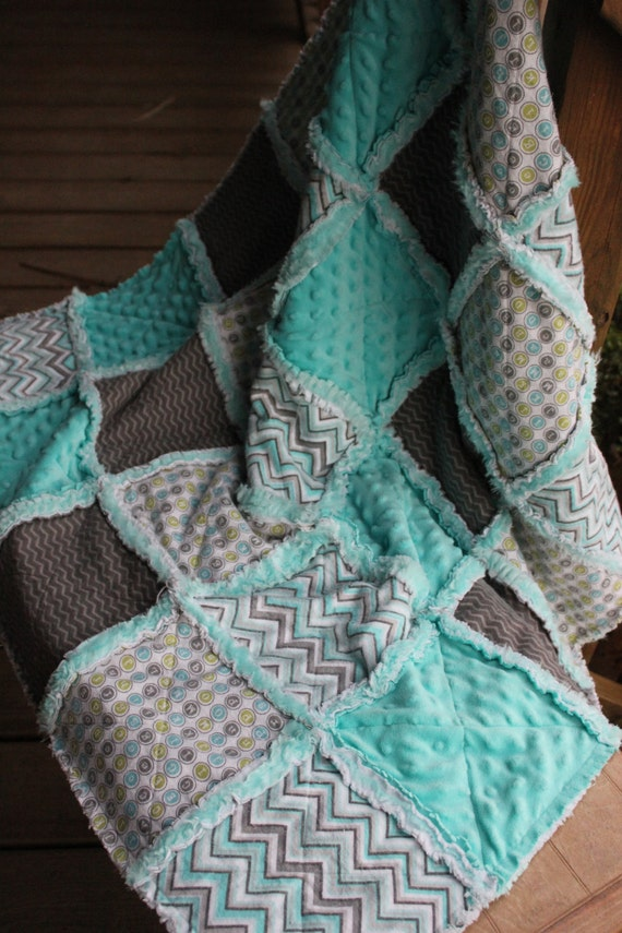 Baby Rag Quilt In Turquoise Gray And White Reverse Side Has
