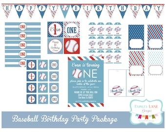 Baseball Birthday Party Printable Package, Baseball Birthday Party, Baseball, Boy Birthday, Blue and Red,
