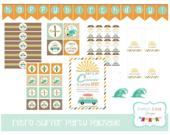 Retro Surfer  Birthday Party Printable  Package, Retro Surfer Birthday Party, Surfer Birthday, Surfs Up Birthday, Surfboard Birthday