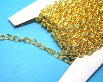 10Ft Gold Plated Cable Chain Link-Opened 3x5mm(No.787)