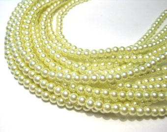 1 Strand Pale Green Glass pearl Beads 4mm Round