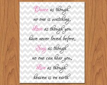 Dance as though no one is watching wall art print living room, girls room, family room decor pink grey chevron 8x10 matte finish (49)