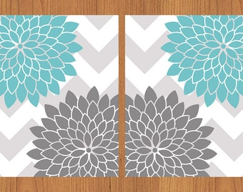 Floral Flower Burst Aqua Grey Chevron Wall Art Nursery Bedroom Bathroom Living Room Kitchen Print 8X10 Set of 2 (108)
