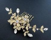 Bridal hair comb, Wedding hair comb, Bridal hair clip, Gold bridal headpiece, Bridal hair pin, Silver headpiece, Vintage style headpiece