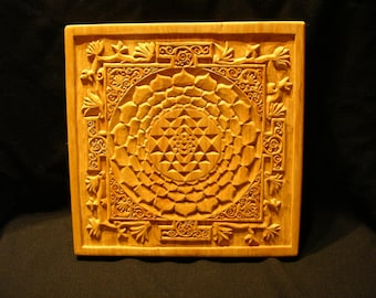 Sri Yantra carving, Wooden Wall Art Decor, Personalized Gift, One of a Kind, unique, wood wall hanging, Hand made in Lithuania- SOLD