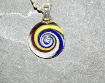 Natural Handmade Hemp Necklace With Blown Glass Pendant