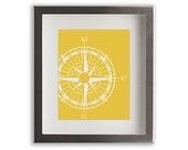 Nautical Compass Wall Art Print - home decor, nautical wall art, dorm decor, living room decor, dining room decor, maritime, beach cottage
