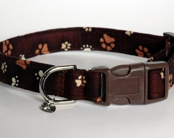 "Handmade Brown Dog Collar w/ Paw Prints ""New"""