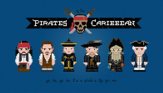 Pirates of the Caribbean Movie Characters - Digital PDF Cross Stitch Pattern