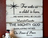 for unto us a child is born, christmas signs, wood christmas signs, christmas decor