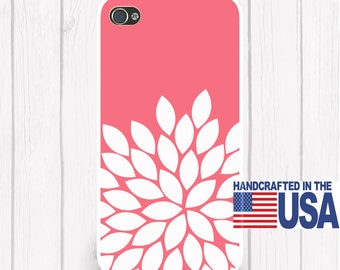 Coral (or any color) Mum Flower Silhouette Personalized Phone Case   iPhone 5 iPhone 5S iPhone 5C iPod Samsung iPhone 4/4S iPhone 6 iPhone6