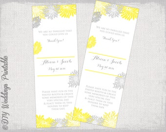 """Photo Booth frame insert template Yellow and Gray Gerber Daisy DIY wedding templates """"Flower Burst"""" Yellow & gray photostrip holder download"""