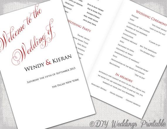 wedding program template red diy printable order of ceremony. Black Bedroom Furniture Sets. Home Design Ideas