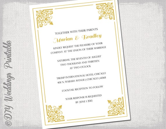 gold wedding invitation template classic printable, Einladungen