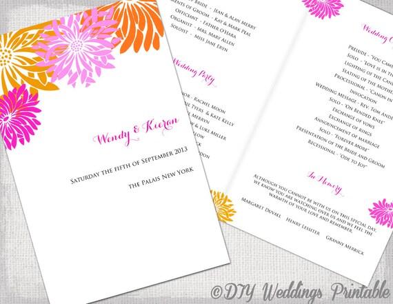 Wedding program template pink & orange DIY printable tropical