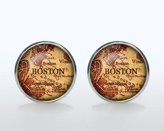 Boston map Cufflinks Silver plated Boston vintage map Cuff links men and women Accessories Antique black brown red green