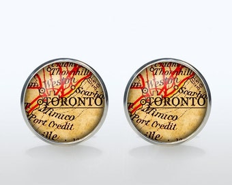 Toronto map Cufflinks Silver plated Toronto vintage map Cuff links men and women Accessories Antique black brown red