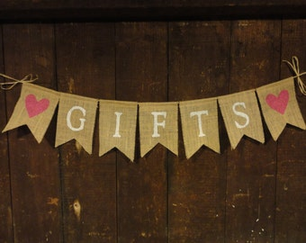 Gifts Burlap banner, Gifts Sign, Wedding Decor, Bridal Shower Decor, Baby Shower Decor, Gifts Garland, Gifts Table, Rustic Country, Custom