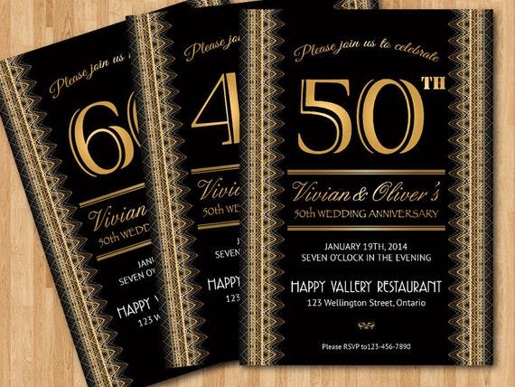 Invitation anniversaire de mariage 20e 30 40e 50e 60e for 50e anniversaire de mariage