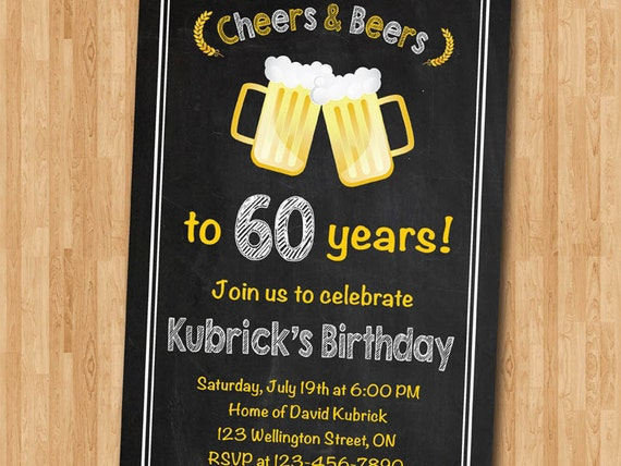 60th birthday invitation  cheers  u0026 beers invitation  surprise