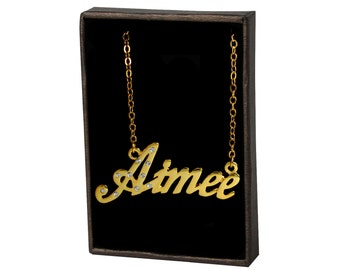 Name Necklace Aimee - Gold Plated 18ct Personalised Necklace with Czech Crystals