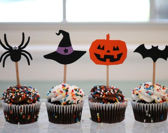 Halloween Cupcake Toppers - set of 12 - Jack O' Lantern, Spiders, and Witch Hats