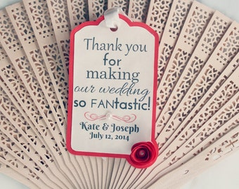 Wedding Fans with Gift Tags • Sandal Wood Fans • Original and Creative Favours • Destination Wedding  • Modern Reception Stationary
