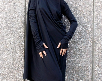 Black Maxi Dress / Asymmetric Plus Size Black Dress / Black Kaftan / Long Sleeves Black Dress / Oversize Loose Black Dress TDK01