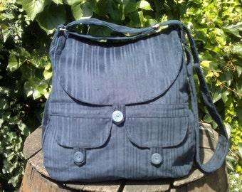 Dark blue corduroy messenger bag,buttoned big bag